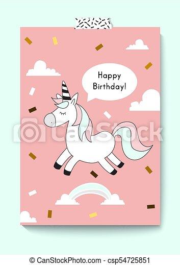 Cute Unicorn Doodle Happy Birthday Card A4 Size Magic Vector