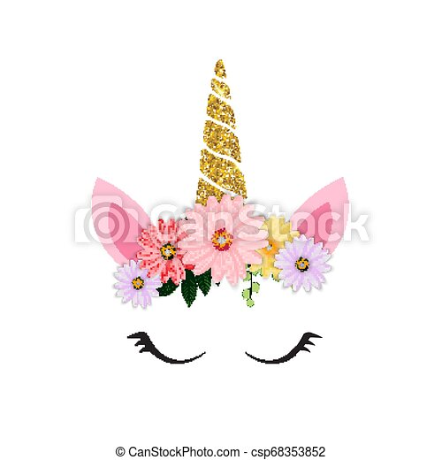Cute Unicorn Head And Eyes With Flower Vector Illustration Eps10 Canstock