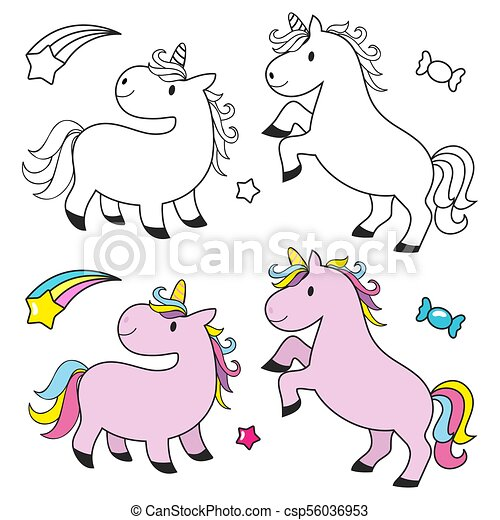 Cute Unicorn Set For Kids Coloring Book