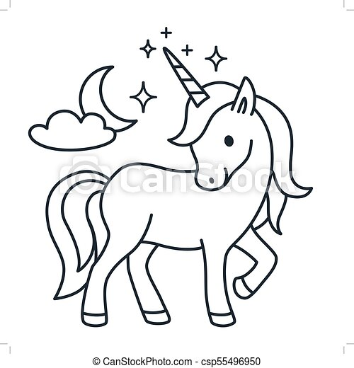 Cute Unicorn Simple Cartoon Vector Coloring Book Illustration