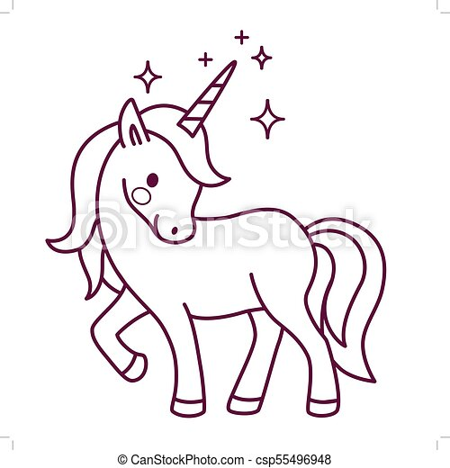 Cute Unicorn Simple Cartoon Vector Coloring Page Illustration Flat Line Doodle Icon Contemporary Style Design Element Isolated On White Magical