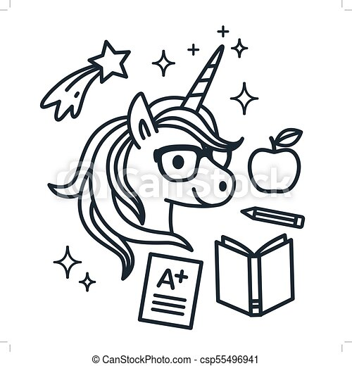 Cute Unicorn Wearing Eyeglasses With School Themed Icons Around. Single  Color Outline Vector Illustration. Simple Line Doodles, Coloring Book Page,  ...