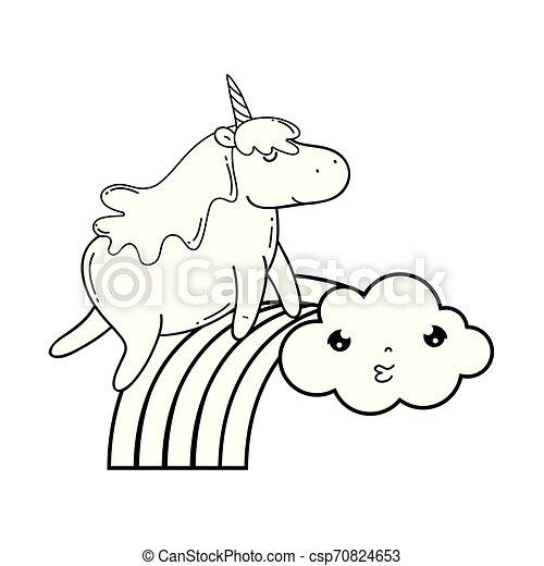 cute unicorn with clouds and rainbow kawaii - csp70824653