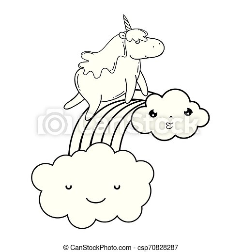 cute unicorn with clouds and rainbow kawaii - csp70828287