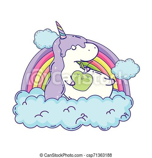 cute unicorn with clouds and rainbow kawaii - csp71363188