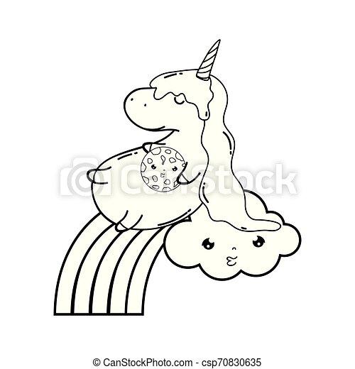 cute unicorn with clouds and rainbow kawaii - csp70830635