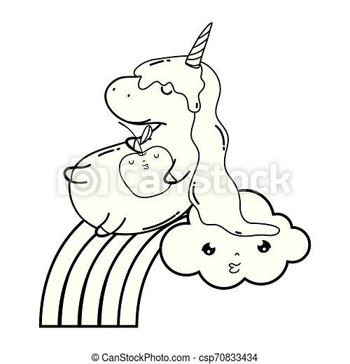 cute unicorn with clouds and rainbow kawaii - csp70833434