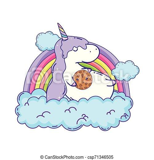cute unicorn with clouds and rainbow kawaii - csp71346505