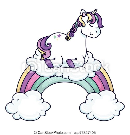 cute unicorn with clouds and rainbow - csp78327405
