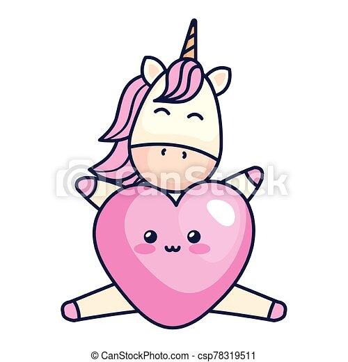 cute unicorn with heart kawaii style - csp78319511