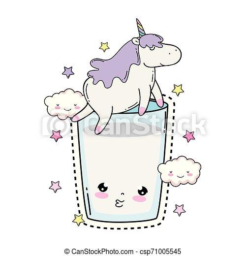cute unicorn with milk glass kawaii - csp71005545