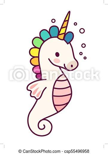cute unicorn with purple mane simple cartoon vector illustration