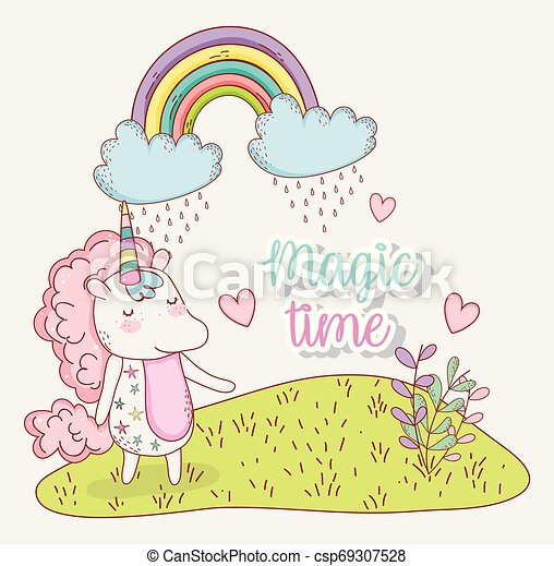 cute unicorn with rainbow clouds and hearts - csp69307528