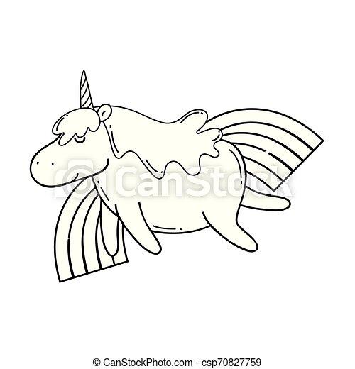 cute unicorn with rainbow kawaii - csp70827759