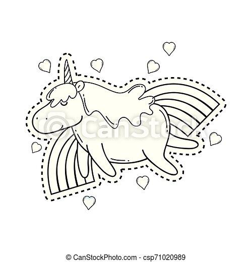 cute unicorn with rainbow kawaii - csp71020989