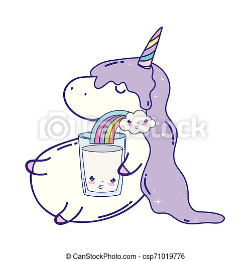 cute unicorn with rainbow kawaii - csp71019776
