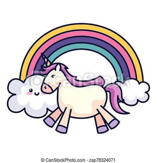 cute unicorn with rainbow kawaii style - csp78324071