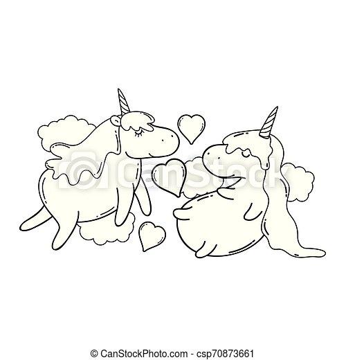 cute unicorns couple kawaii character - csp70873661