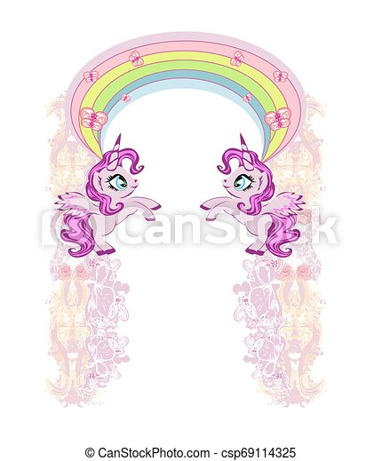 Cute unicorns, rainbow, pastel frame - csp69114325