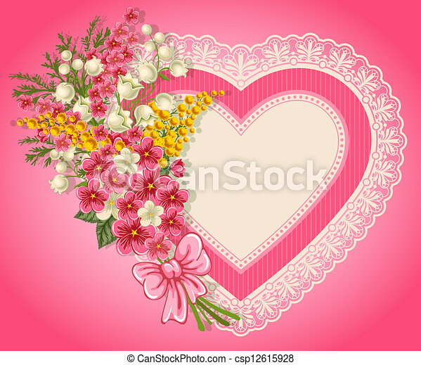 Cute Valentine Card With Heart Bouquet Of Spring Flowers And Place