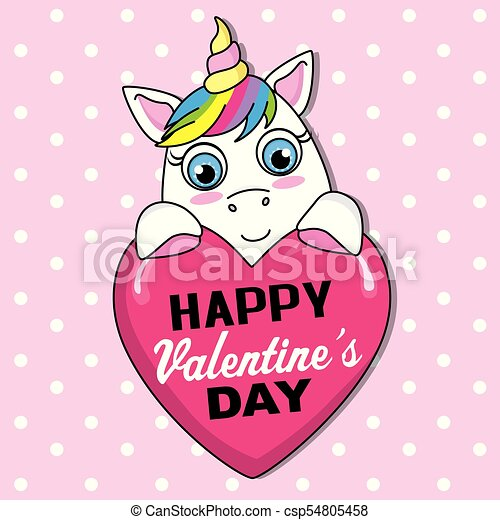 Cute Valentines Card Unicorn With Pink Heart