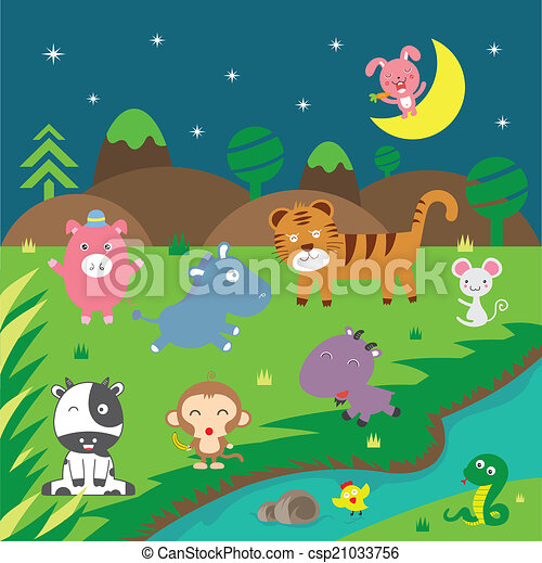 cute vector animals - csp21033756