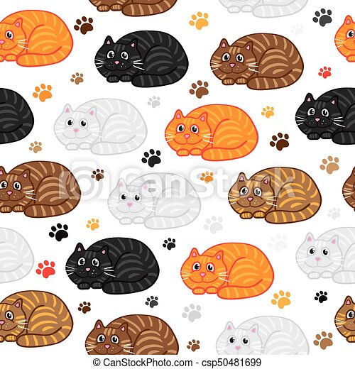 Cute Vector Cats Seamless Pattern Funny Doodle Wallpaper