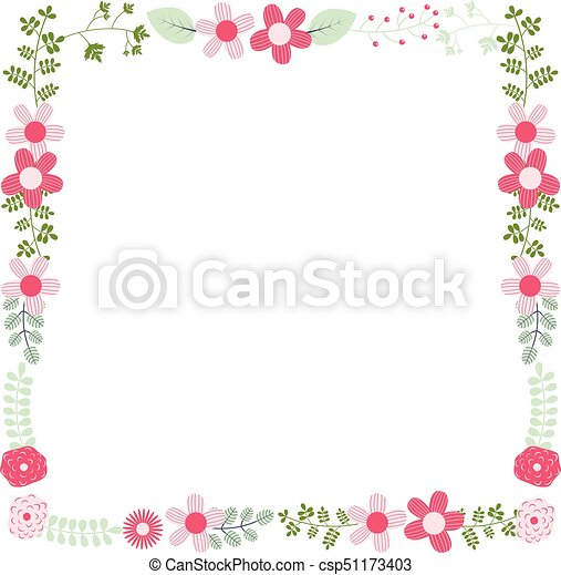 cute vector floral frame template with pink flowers and green leaves for wedding invitations