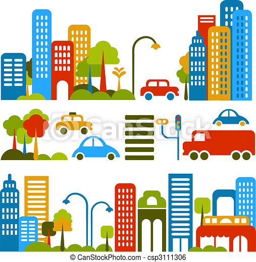 Cute vector illustration of a city street - csp3111306