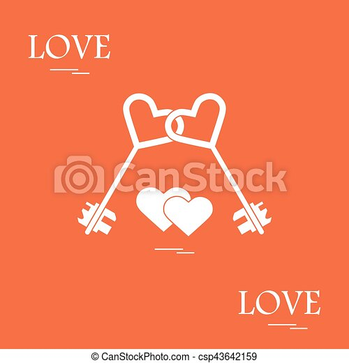 Cute Vector Illustration Of Love Symbols Heart Key Icon And