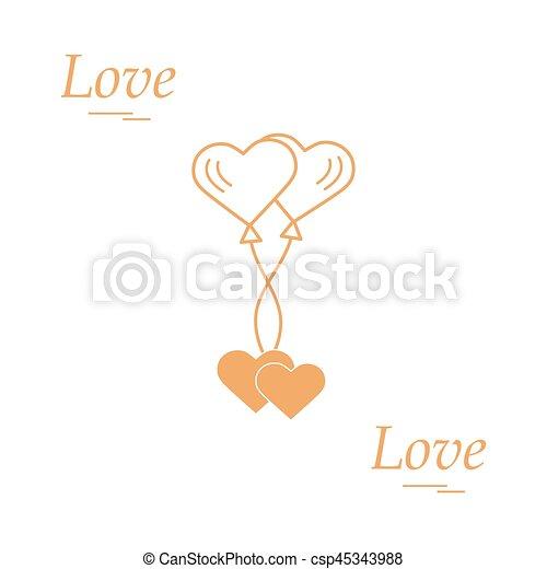 Cute Vector Illustration Of Love Symbols Heart Air Balloons Icon