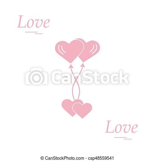 Cute Vector Illustration Of Love Symbols Heart Air Balloons Eps
