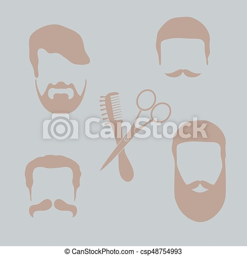 Cute vector illustration of men hairstyles, beards and mustaches ...