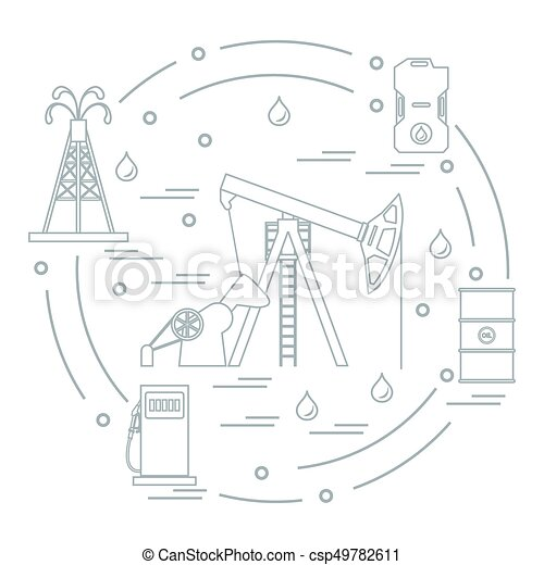 Cute Vector Illustration Of The Equipment For Oil Production