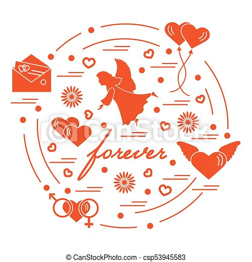 Cute Vector Illustration With Different Love Symbols Vector