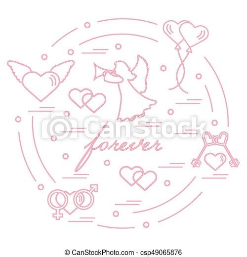 Cute Vector Illustration With Different Love Symbols Vectors