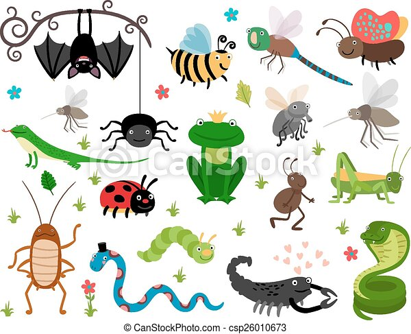 Cute vector insects, reptiles. Bee, grasshopper, lizard and snake - csp26010673