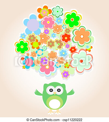 Cute vector owl with many flowers baby boy invitation card cute vector owl with many flowers stopboris Choice Image