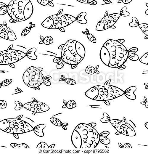 Cute vector seamless pattern with fish. - csp49795562