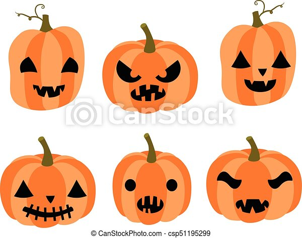 cute vector set with cartoon carved pumpkins with faces with