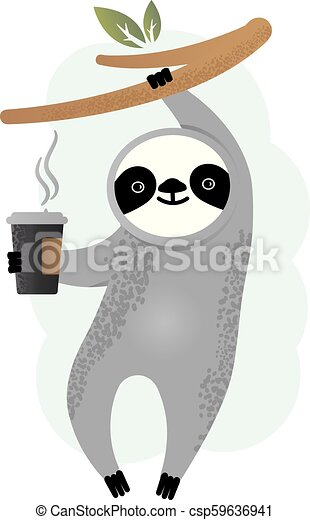 Cute vector sloth bear animal with coffee - csp59636941
