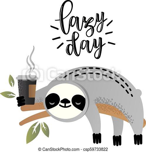 Cute vector sloth bear animal with coffee - csp59733822