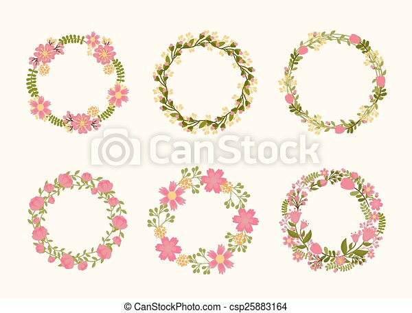 Cute Vector Wreath Frames For Wedding Invitations Wicker Of Flowers And Plants Canstock