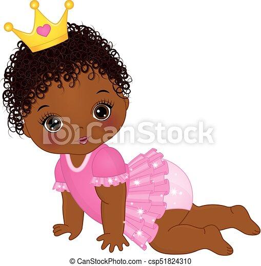 cute, vestido, americano, vetorial, africano, menina bebê, princesa - csp51824310