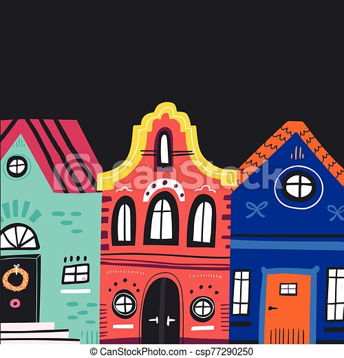 cute vintage houses facades flat clipart vector csp77290250
