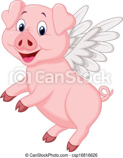 cute, voando, caricatura, porca - csp16816626