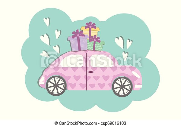 Cute volkswagen beetle style car with gift boxses- vector illustration in flat cartoon style - csp69016103