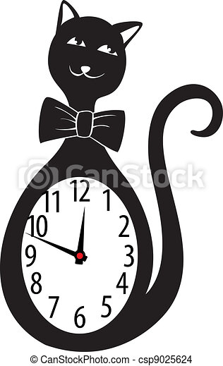 Cute Wall Clock Cat Sticker Vector Illustration Cute Wall Clock