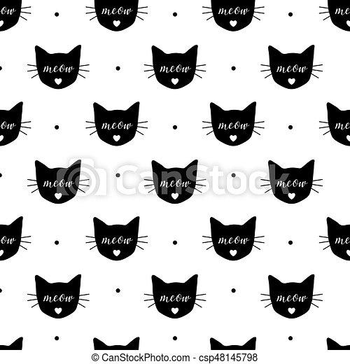 Cute Wallpaper Tecido Meow Padrao Eps10 Seamless Cats