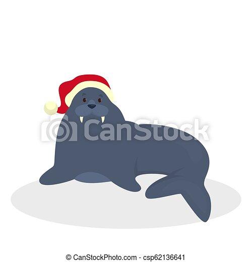 Cute walrus in Santa hat celebrate christmas - csp62136641